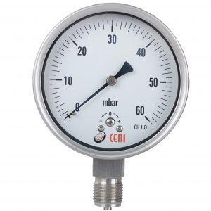 Manómetros Serie 62 - A capsula, para baja presión, total inox