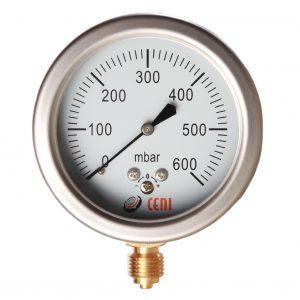 Manómetros Serie 63 - A capsula, para baja presión, caja inox, internos bronce